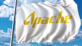 Machać flaga z Apache Korporacja logem Editoial 3D rendering Zdjęcie Royalty Free