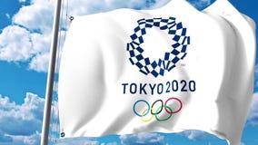 Machać flaga z 2020 letnich igrzysk logem przeciw chmurom i niebu Redakcyjny 3D rendering Zdjęcia Stock