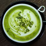 Macha zielonej herbaty latte zdjęcie stock