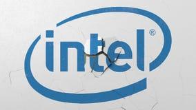 Machacamiento del muro de cemento con el logotipo de Intel Representación editorial conceptual 3D de la crisis libre illustration