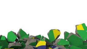 Machacamiento del muro de cemento con la bandera del Brasil Animación conceptual 3D de la crisis brasileña stock de ilustración