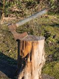 Machado de aço oxidado encaixado em um log cortado imagens de stock royalty free