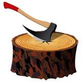 Machado e madeira ilustração do vetor
