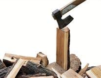 Machado em blocos de madeira Imagem de Stock Royalty Free