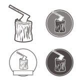 Machado em ilustração ajustada da silhueta do stumb Imagem de Stock Royalty Free