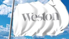 Machający flaga z George Weston Ograniczał loga przeciw chmurom i niebu 4K artykułu wstępnego animacja zdjęcie wideo
