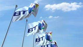 Machający zaznacza z British Telecom BT logem przeciw niebu, redakcyjny 3D rendering ilustracji