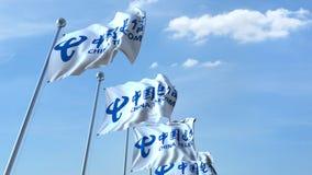 Machający zaznacza z China Telecom logem przeciw niebu, redakcyjny 3D rendering Obraz Royalty Free