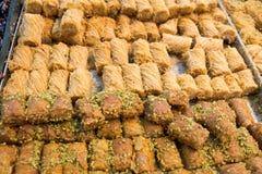 Machane Yehudah Market in Jerusalem. Baklava sweets at Machane Yehudah Market in Jerusalem Royalty Free Stock Photos