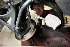 Machanic repairman at car break change Royalty Free Stock Photography