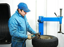 Machanic repairman at tyre fitting Royalty Free Stock Photography