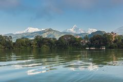 The Machapuchare and Annapurna III seen Pokhara, Nepal Stock Image