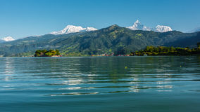 The Machapuchare and Annapurna III seen Pokhara, Nepal Royalty Free Stock Photos