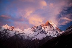 Machapuchare (Fishtail) Peak sunset Stock Photography