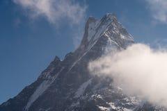 Machapuchare mountain peak, secred mountain in Annapurna range in Pokhara, Nepal. Asia royalty free stock photo