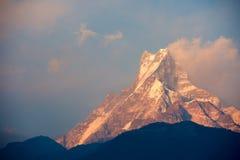 Machapuchare summit at sunset stock image