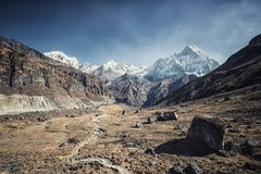 Machapuchre στο Νεπάλ himalayan Στοκ Εικόνες
