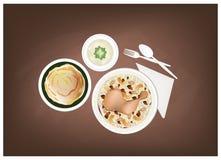 Machboos, Roti Canai och Hummus på den svart tavlan royaltyfri illustrationer