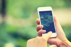Machen des Fotos mit Mobiltelefon Stockfotos