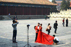 Machen des Hochzeitsfotos Stockfotografie