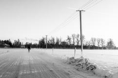 Machen eines Spaziergangs an einem schneebedeckten Tag auf einer vereisten Straße Lizenzfreie Stockbilder