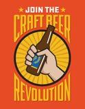 Machen Sie Bier-Revolutionsvektorausweis in Handarbeit oder beschriften Sie Design stock abbildung