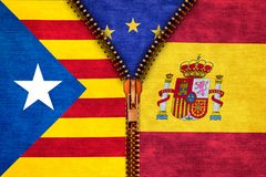 Machen Sie das Teilen von Katalonien und von Spanien mit Europa auf Hintergrund Reißverschluss zu Stockbild