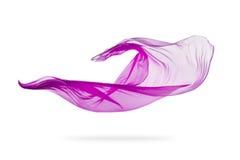 Machen Sie den eleganten purpurroten Stoff glatt, der auf weißem Hintergrund lokalisiert wird stockfotos