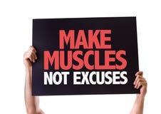 Machen Sie die Muskel-nicht Entschuldigungskarte, die auf Weiß lokalisiert wird Stockbild