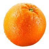 Machen Sie die orange Frucht naß, die auf weißem Ausschnittspfad getrennt wird Stockfotos