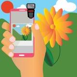 Machen Sie ein Foto mit Mobile Stock Abbildung