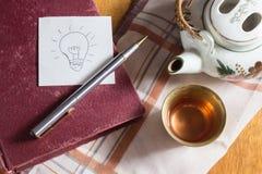 Machen Sie eine Idee mit Tee. Stockfotos