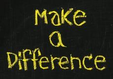 Machen Sie eine Unterschiedphrase auf Tafel Stockfotos