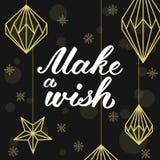 Machen Sie einen Wunsch! Geometrische Weihnachtsdekorationen und -beschriftung Glückliches neues Jahr! Stockbilder