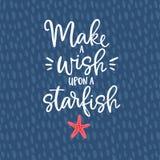 Machen Sie einen Wunsch nach einem Starfish Hand gezeichnete Beschriftungszitatkarte mit einer Starfishillustration Vektorhand ge stock abbildung
