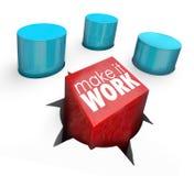 Machen Sie es Belegschaft geeignetes Herausforderungs-Lösungs-Quadrat Peg Round Hole lizenzfreie abbildung