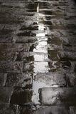 Machen Sie gepflasterten Straßenhintergrund naß lizenzfreie stockbilder