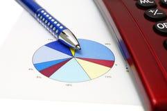Machen Sie Geschäftskonzept mit Stift, Taschenrechner, Diagramm Lizenzfreie Stockfotos