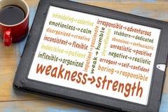 Machen Sie Ihre Schwächen zu Stärken stockbild