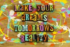Machen Sie Ihre Traummorgenwirklichkeit stockbild