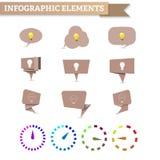 Machen Sie Spracheblase mit Birne, materielles Design, Uhrdiagramm in Handarbeit Lizenzfreie Stockbilder