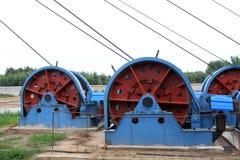 下沉在MaCheng铁矿, C的轴的工业阶段绞盘 免版税库存照片