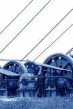 下沉在MaCheng铁矿, C的轴的工业阶段绞盘 免版税图库摄影