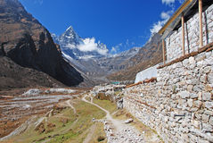 Machermo village in Himalayas Stock Photos