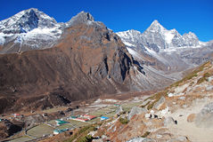 Machermo village in Himalayas Stock Photo