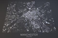Machester mapa, satelitarny widok, Zjednoczone Królestwo Obraz Royalty Free