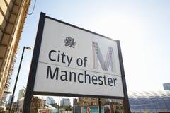 Machester, UK - 4 2017 Maj: Zamyka Up Podpisuje Wewnątrz Machester centrum miasta Obraz Stock