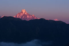 Machhapuchchhre mountain - Fish Tail in English is a mountain in stock photo