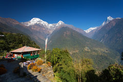 Machhapuchchhre mountain - Fish Tail in English is a mountain in Royalty Free Stock Images