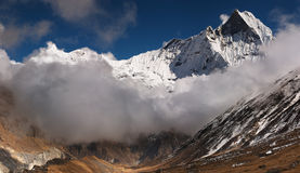 Machhapuchhre mountain in Nepal (Fishtail). View from Annapurna base camp Royalty Free Stock Image
